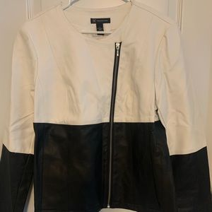 INC Zip Front Moto Jacket Size Large Colorblock